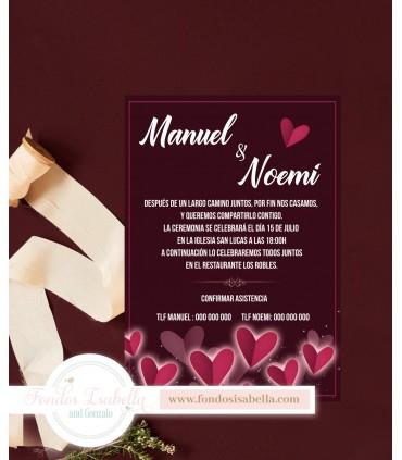 Invitación de Boda romántica corazones
