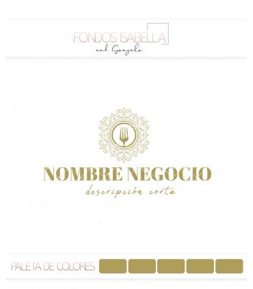 Logo restaurante tenedor oro