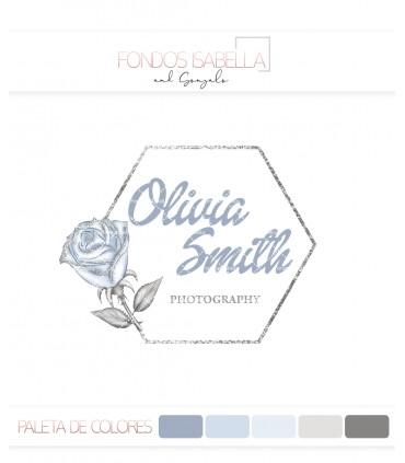 Logo flor rosa azul grisacea