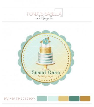 Logo pasteleria tarta verde y oro