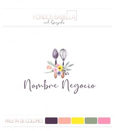 Logo vintage pasteleria flores