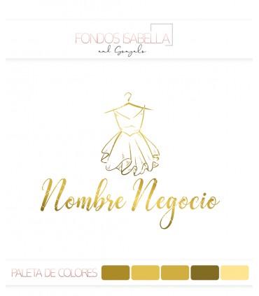 Logo tienda de moda mujer silueta vestido dorado