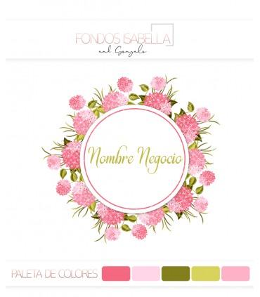 Logo marco de flores tonos rosados
