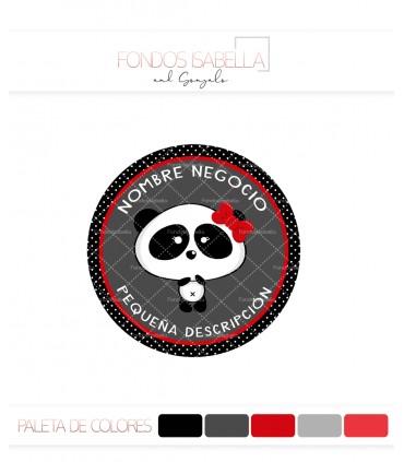 Logo infantil osita panda lazo rojo