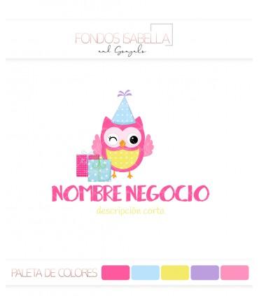 Logo infantil búho rosa y regalos
