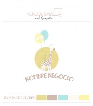 Logo infantil jirafa globos amarillo y azul